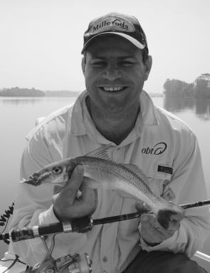 "The author with a wonderful whiting that took a 2"" Baby Shrimp worked across the surface."